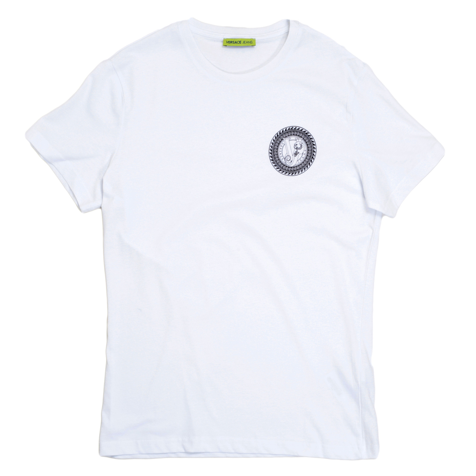 e07f42048 Versace Jeans White Slimmer for Short Sleeve T Shirt with Black Printed Logo  on the Chest