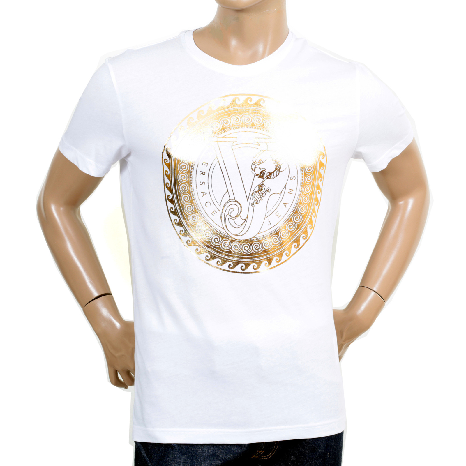 White cotton made versace jeans slim fit t shirt for Blue and white versace shirt