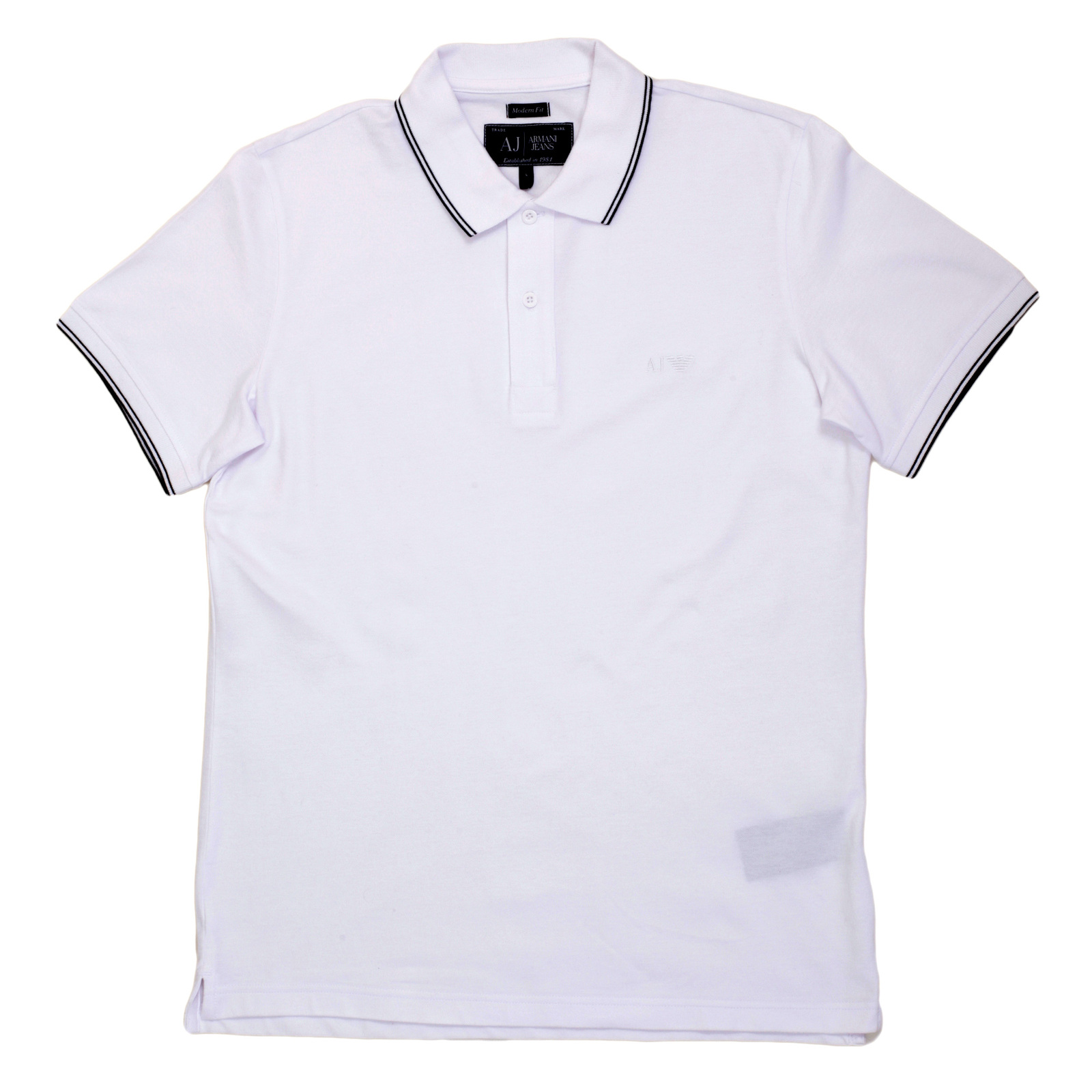 Mens short sleeve polo shirt in white from armani jeans for White fitted polo shirts