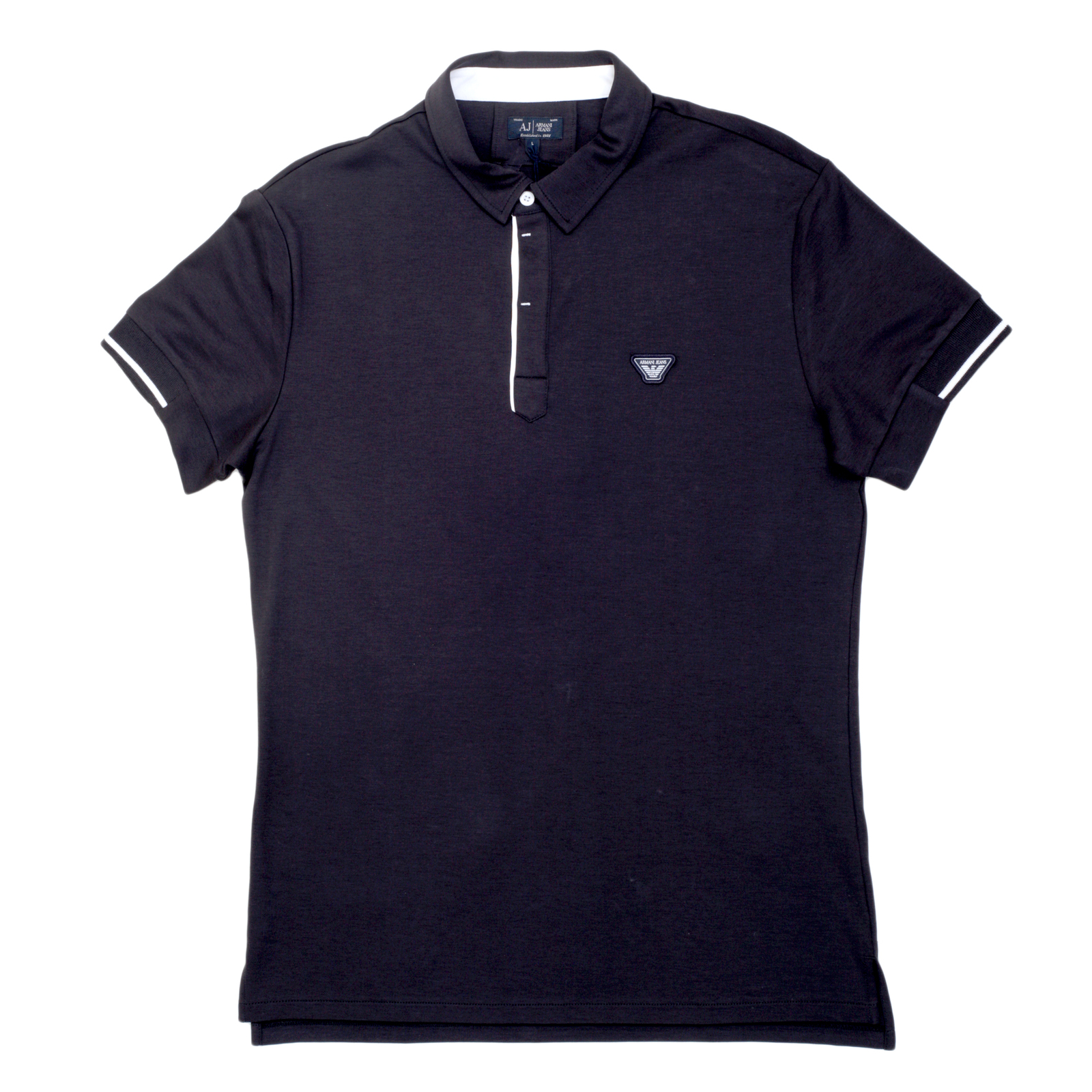 Armani Jeans Slimmer Fit Logo Embroidered Blue Polo Shirt for Men with  Ribbed Collar and Sleeve