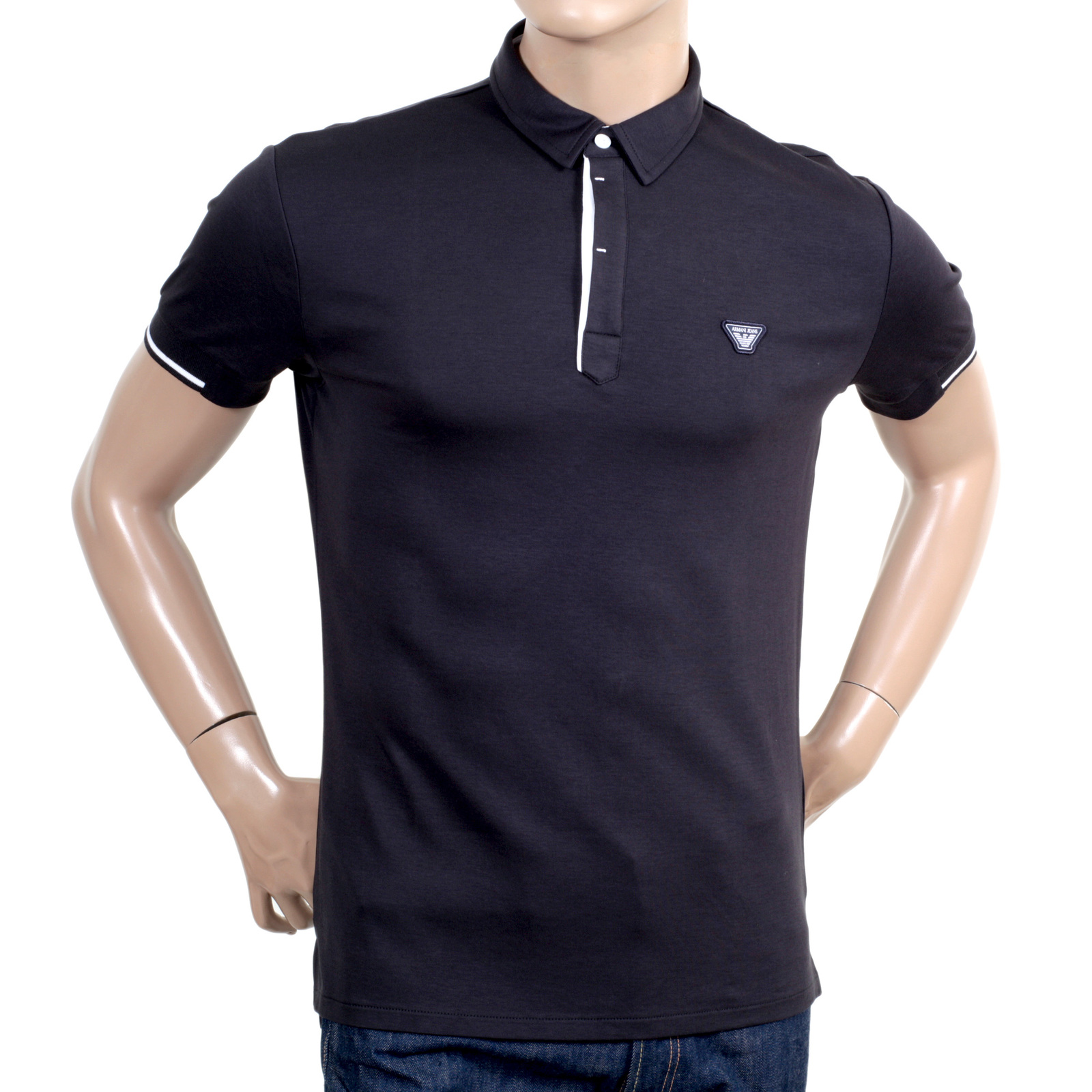 d4c9e1260 Armani Jeans Slimmer Fit Logo Embroidered Blue Polo Shirt for Men with  Ribbed Collar and Sleeve