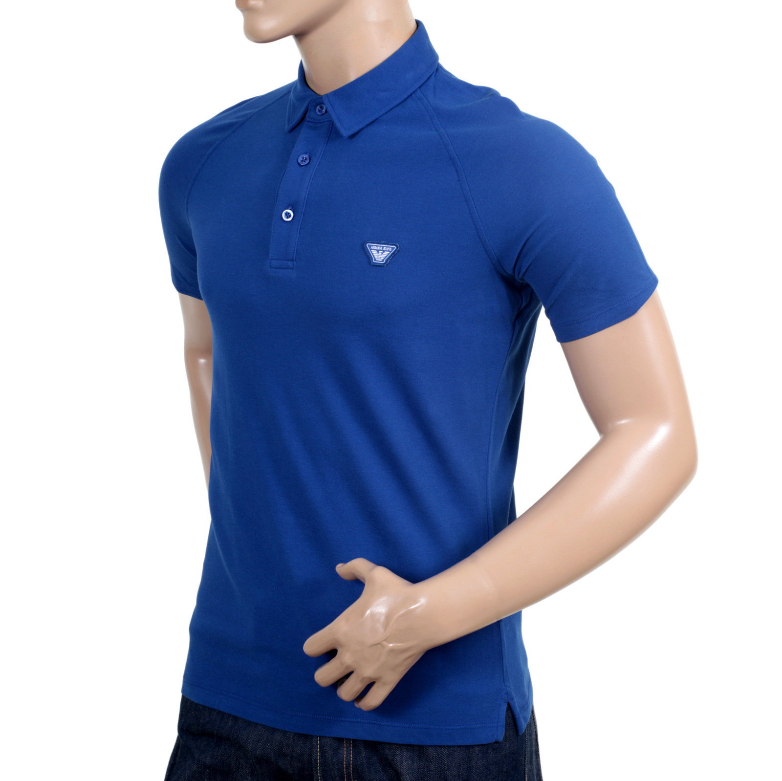 18fbbab83 Armani Jeans Regular Fit Blue Raglan Short Sleeve Polo Shirt with Small  Collar and Applique Chest