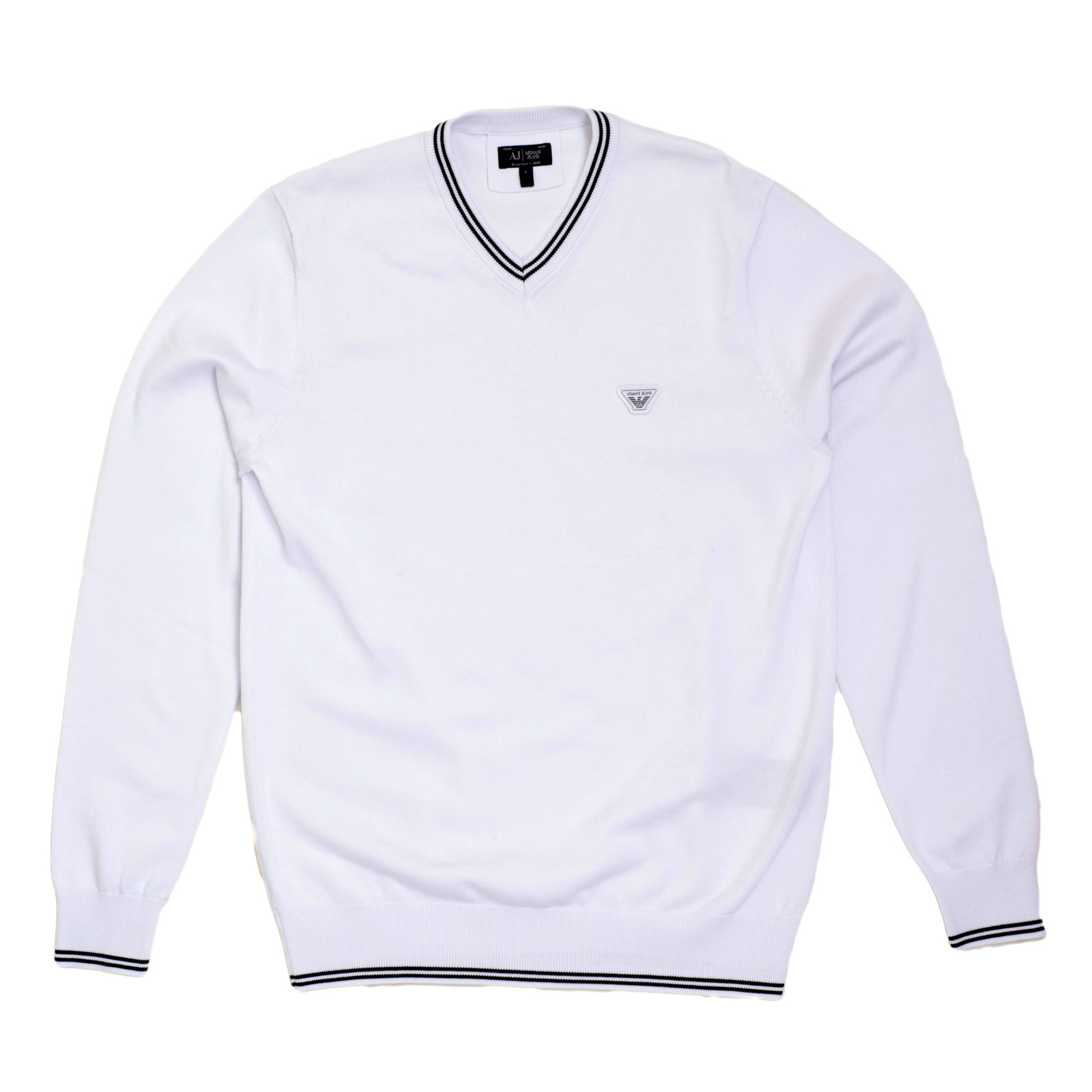 Armani Jeans Full Sleeve V Neck Regular Fit White Knitted Sweater with a  Signature Applique Chest