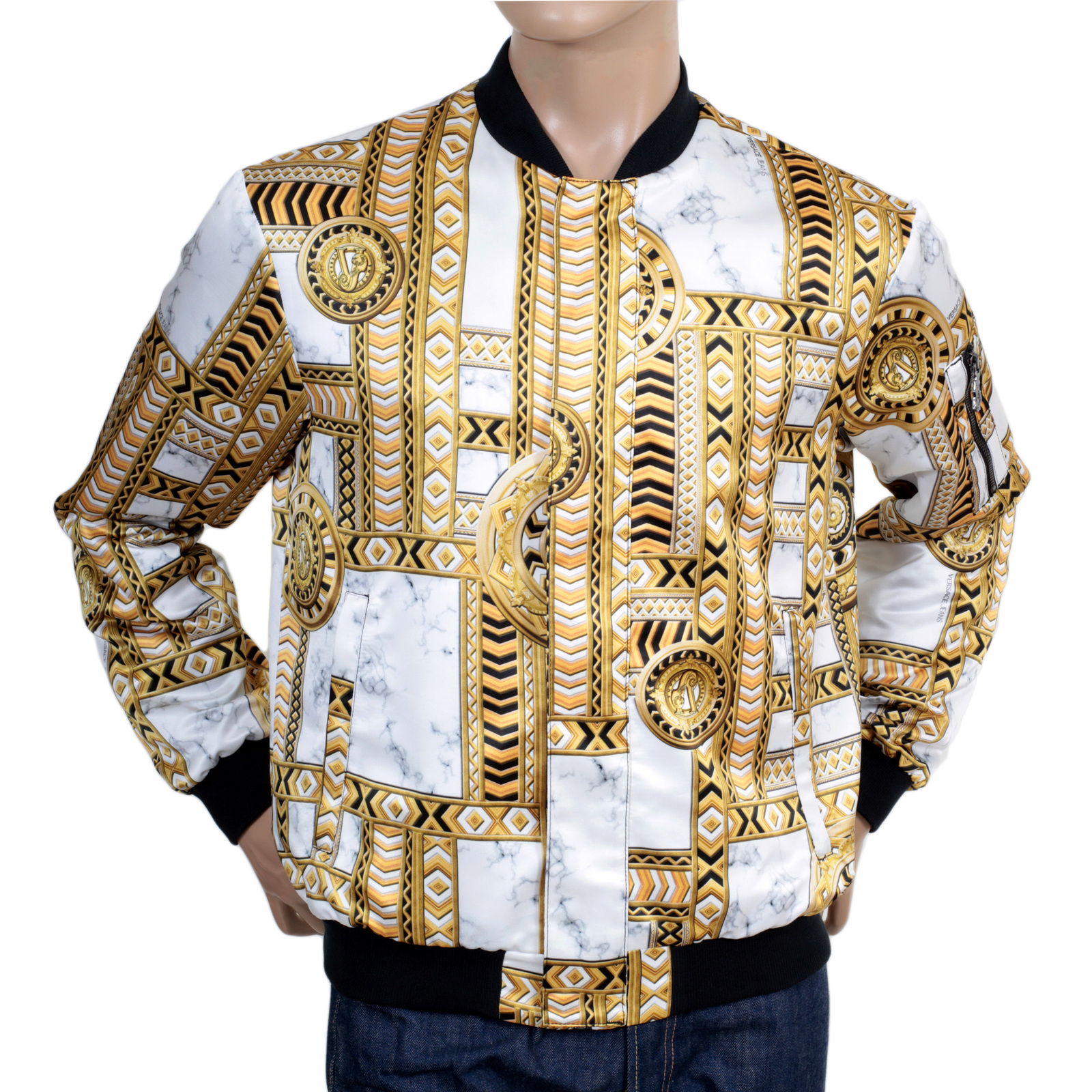 Duchesse Printed Blouson Jacket For Men From Versace