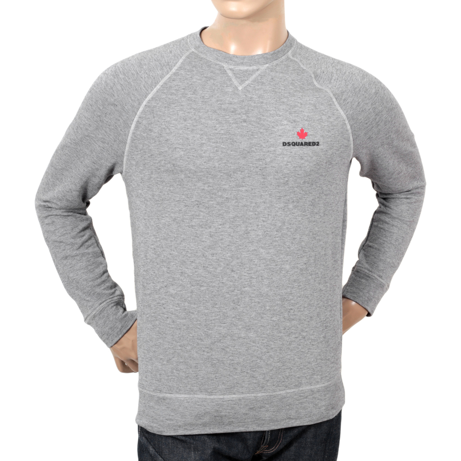 3c97114b3e71 DSquared Grey Raglan Sleeve Crew Neck Sweatshirt for Men with Maple Leaf  and Text Logo Branding