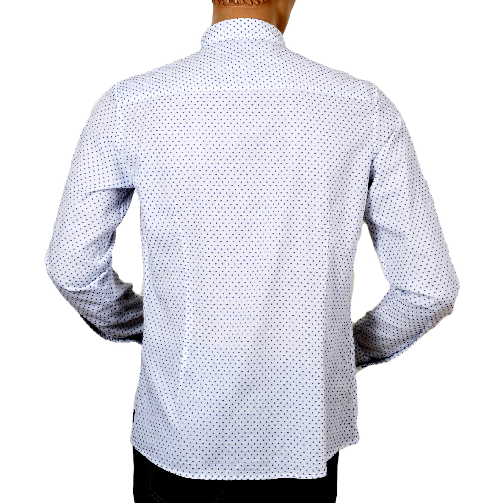 16162f3a5b Armani Jeans White Woven Cotton Extra Slim Fit Casual Long Sleeve Shirt for Men  with Blue