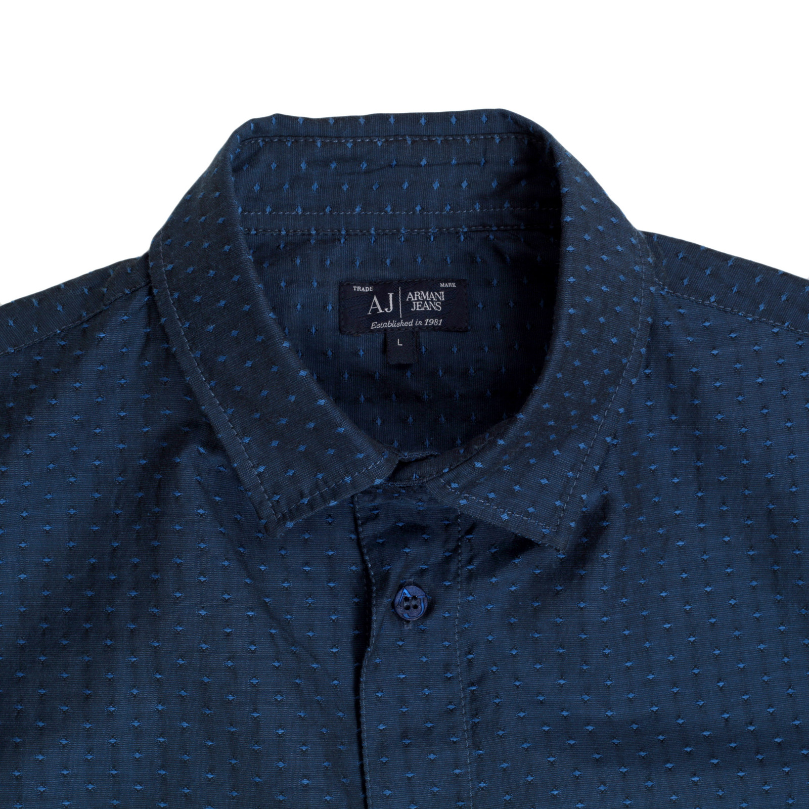 blue dotted short sleeve shirts for men by armani jeans