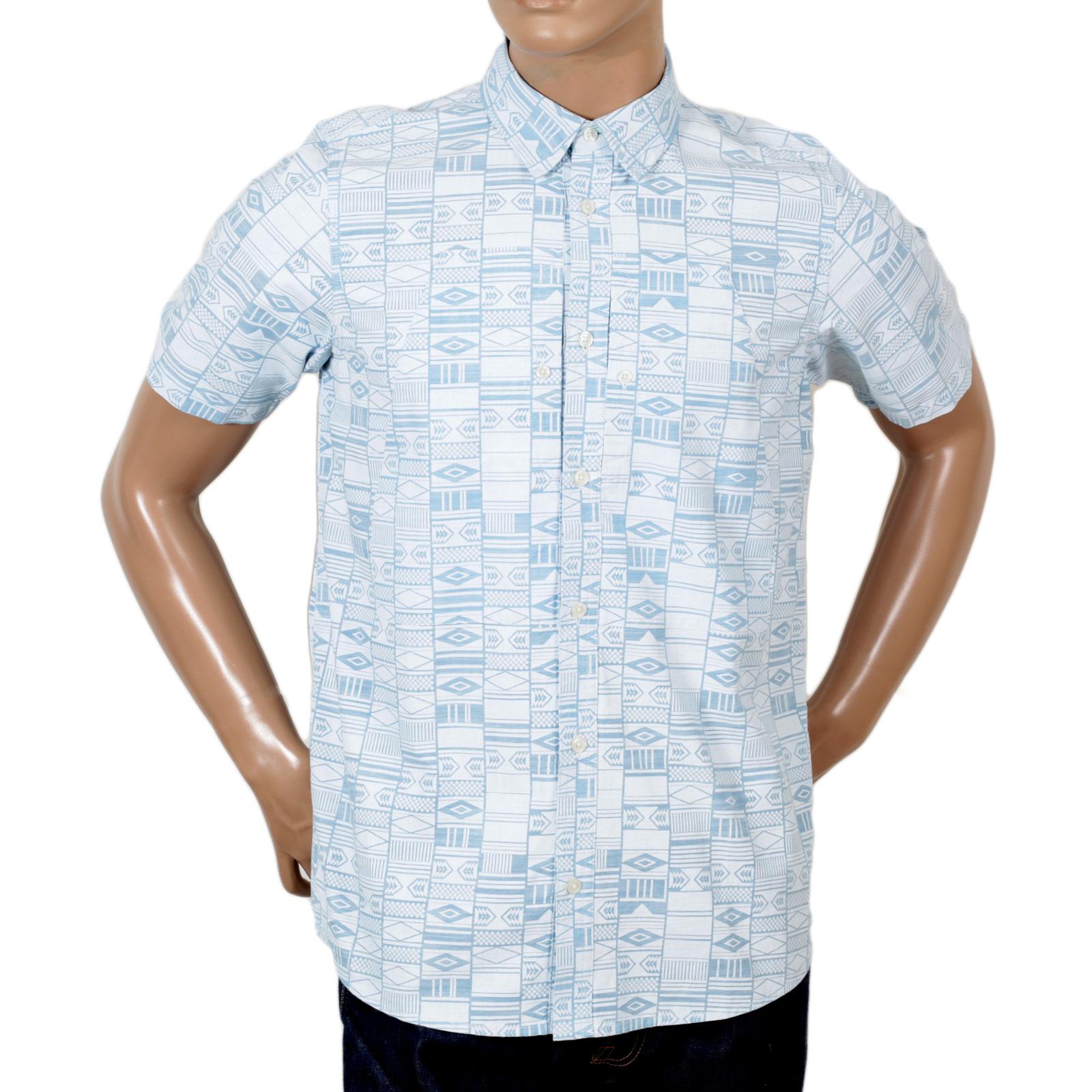 Buy blue printed mens carhartt white short sleeve shirt for Hidden button down collar shirts