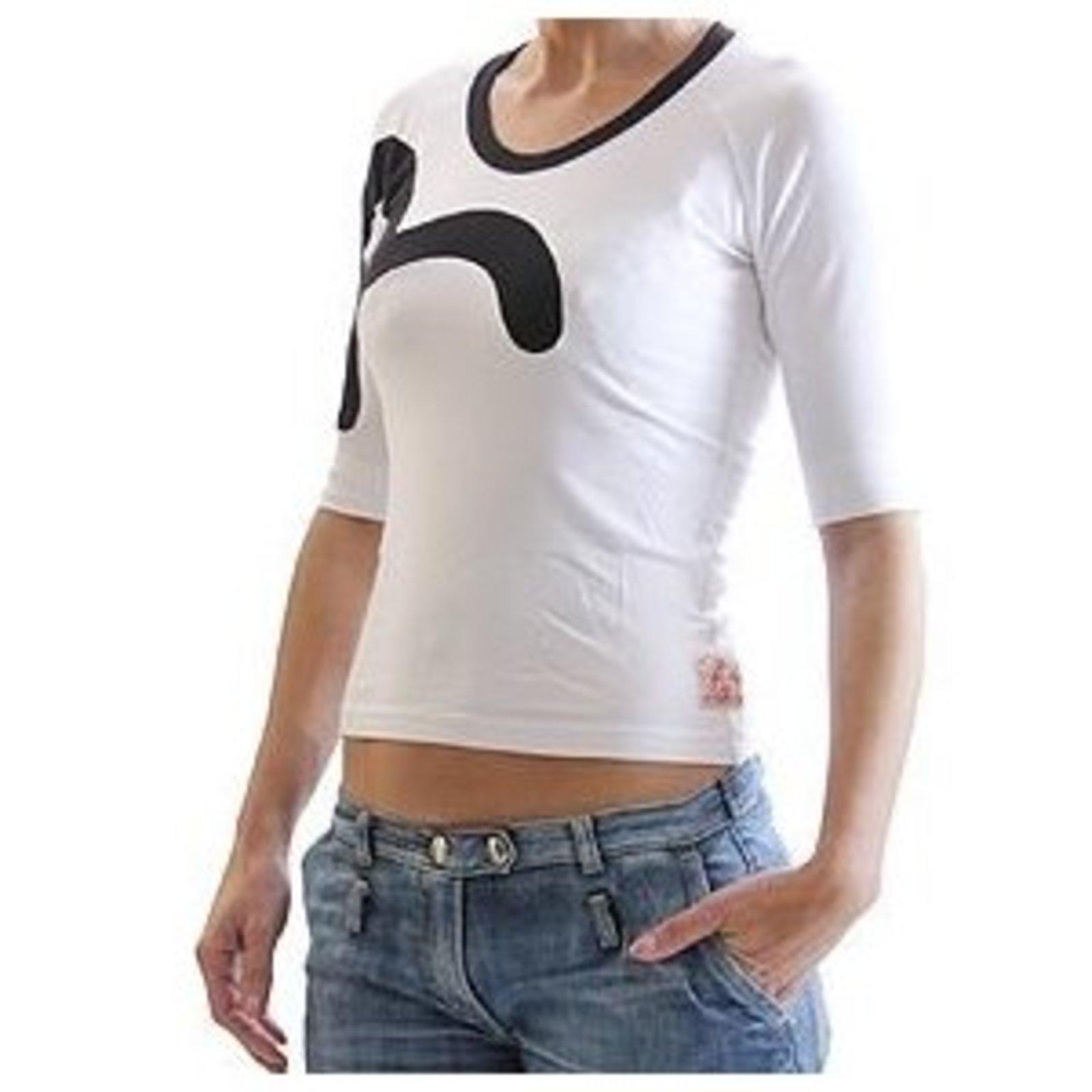 52230b2edc07 Evisu White Stretch T Shirt for Women with Black Collar Trim and Logo Insert  EVIS0510
