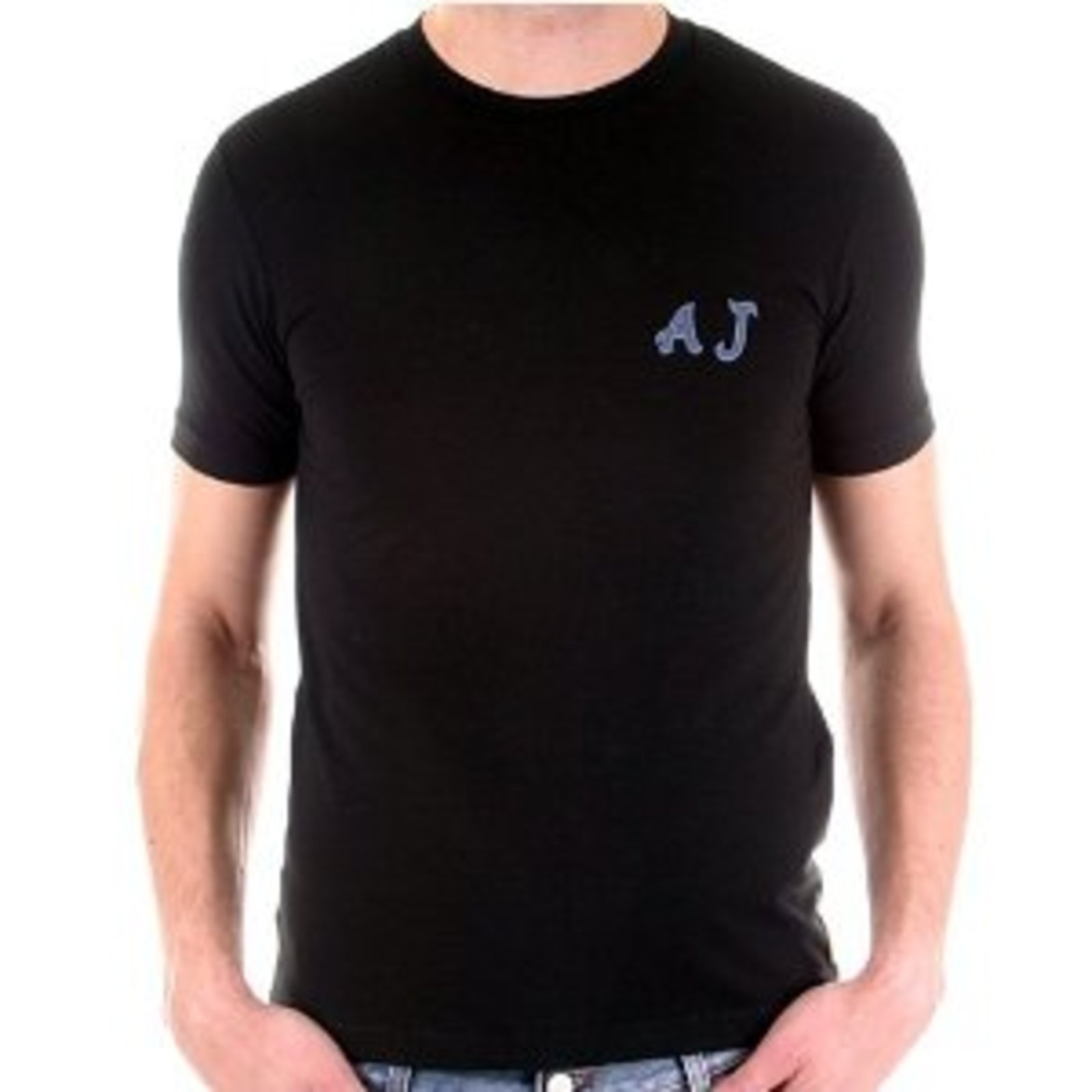 Black t shirt armani - Armani Jeans Short Sleeve Black T Shirt Ajm0732
